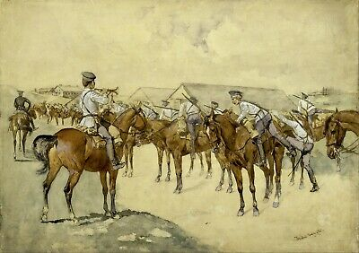 A Call to Arms by Frederic Remington  Giclee Repro on Canvas