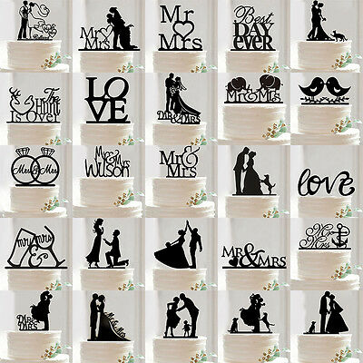 Silhouette Wedding Cake Topper Bride And Groom Mr Mrs Party Favor Black Acrylic