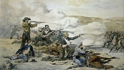 Battle of Beecher's Island by Frederic Remington Giclee Repro Canvas