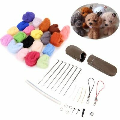 1 Set 25 Colors Soft Wool Felt + Felting Needles Mat Tool Starter Kit DIY Craft