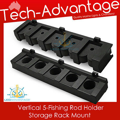 5-Rod Vertical Wall Mounted Fishing Rod Holder Storage Rack - Boat/yacht/garage