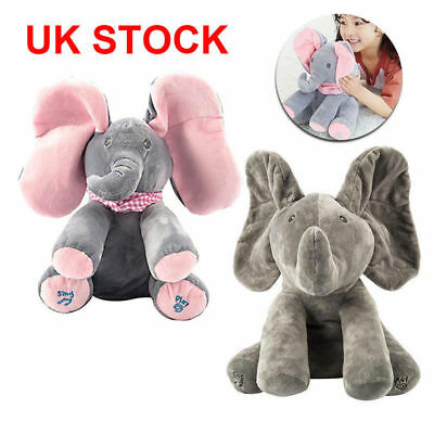 Peek-a-boo Elephant Plush Toy Baby Singing Animated Stuffed Kid Doll Animal XMAS