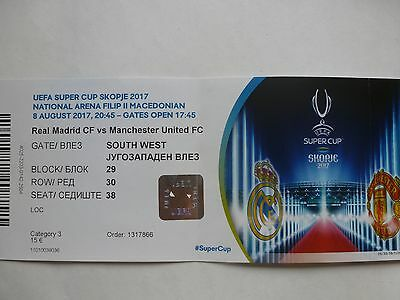 Used ticket Skopje UEFA Super Cup Final 2017 Real Madrid v Manchester United