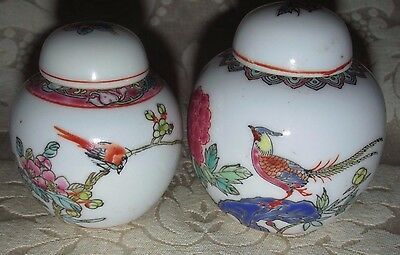 Vintage Chinese 2x. Ginger Jars Canisters Porcelain Famille Rose Birds Flowers