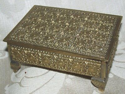 Vintage Brass Footed Trinket Box Lined Wood Hinged Lid Romantic Roses 10.5CmW