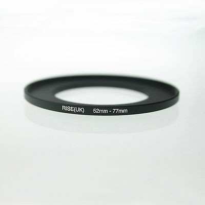 RISE(UK)52mm-77mm 52-77 mm 52 to 77 Metal Step Up Lens Filter Ring Adapter Black