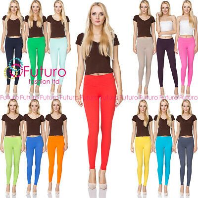 Women's Full Length  Hight Waist Cotton Leggings Plain Pants 8-20 UK Size LWP