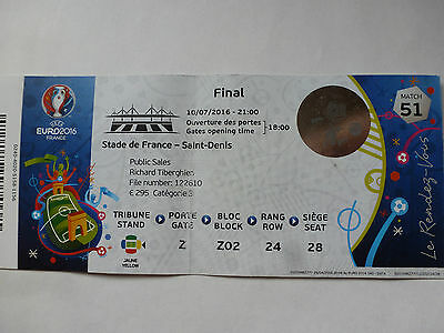 Used Final ticket stub UEFA EURO 2016 Portugal vs. France 1:0 - Match no. 51