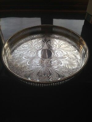 Round Silver Plate On Copper Tray Embossed Indian Style Design Made Sheffield