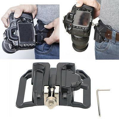 New Quick Release Camera Holster Waist Belt Buckle Button Mount Clip DSLR Camera