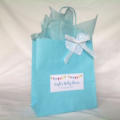 Personalised Handmade Baby Shower Favour Gift Loot Party Bag Blue Boys Theme