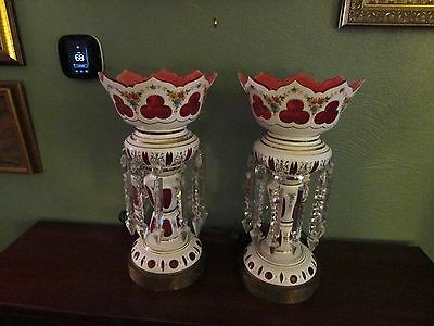 Beautiful Pair of Antique Bohemian Lusters Lamps White Over Red Electrified