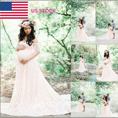 Pregnant Womens Off Shoulder Lace Maxi Dress Photography Photo Maternity Dress