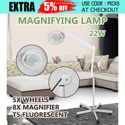 Magnifying Lamp Glass Lens Round Head  Fluorescents Bulbs 8x Magnifier Stand AUS