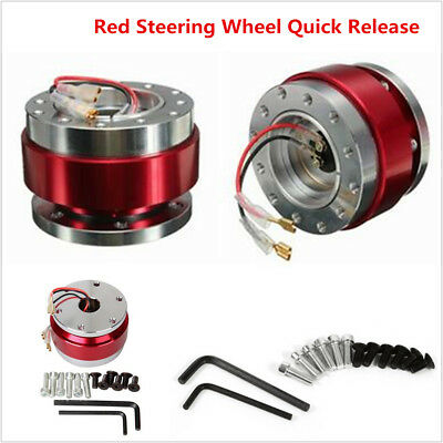 Red Car Steering Wheel Quick Release Hub Adapter Snap Off Boss Kit With Screws