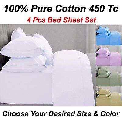 New Queen & King Size 100% Pure Cotton 450 Tc 4Pcs Bed Sheet Set Free Post