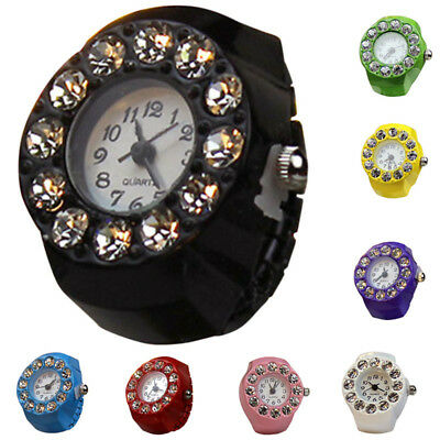 Charm Women Ladies Girl Crystal Elastic Quartz Finger Ring Watch Dial Jewelry