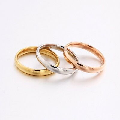 Ladies Silver/Rose/Gold Stainless Steel Engagement Stackable Rings Set 3pcs