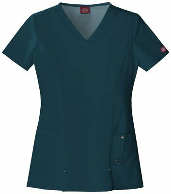 82851 DICKIES WOMENS Stretch Scrub Top Nurse Medical Surgical Hospital Uniform