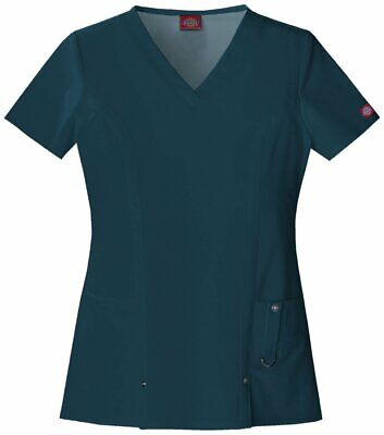 82851 Dickies Xtreme Stretch Womens Medical Scrubs Top Nurse Hospital Uniform