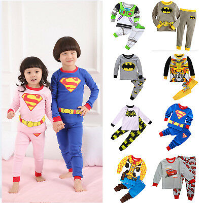 Children Kids Boy Girls Cartoon Sleepwear Baby Nightwear Pj's Pyjamas Outfit Set