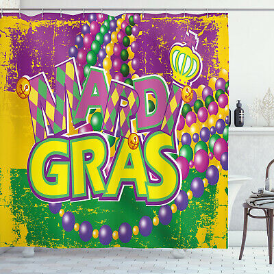 Mardi Gras Shower Curtain Grunge Beads Letters Print For Bathroom 84 Extralong