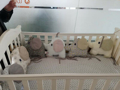 6PCS/Set Cotton Animal Elephant Baby Crib Bumpers Bed Around Protector Pillows