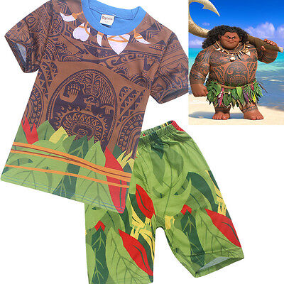 Kids Boys Moana Maui Nightwear Sleepwear Pajamas T-shirt+Shorts Set Short Pants