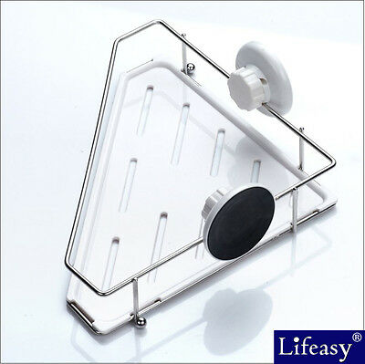 Super Strong Suction Cup Corner Basket  Shower Caddy  Organizer Stainless Steel