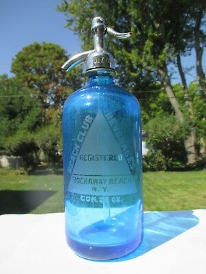 Beach Club Beverages Rockaway Beach, N.y. Cobalt Blue Etched Seltzer Czech Glass