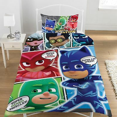 PJ Masks 'Comic' Single Reversible 48% Cotton Duvet Cover & Pillowcase Set