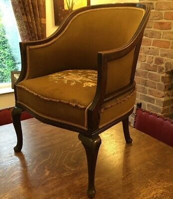 Antique Edwardian Bow Back Tub Chair With Cabriole Legs- Mahogany