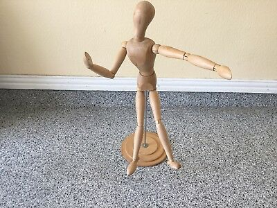 """28"""" Wood Articulated Man Movable Bendable Figure Model Store Display"""
