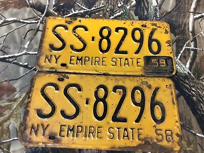 1958 1959 New York License Plate Pair Empire State NY 58 59 Tab SS-8296 Vintage