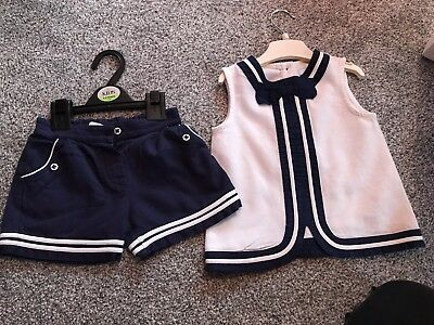 Marks And Spencer Navy And White Outfit! Top And Shorts! Age 2-3! Lovely Set