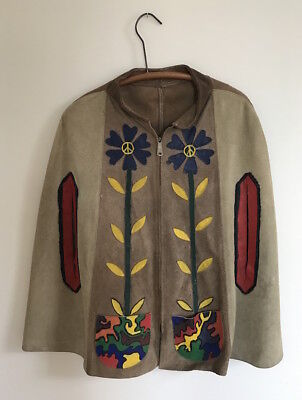 Vintage 1970's Two-Tone PAINTED Suede Leather HIPPIE PONCHO