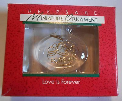 "1988 Hallmark Miniature Ornament ""Love is Forever"" Acrylic MIB"