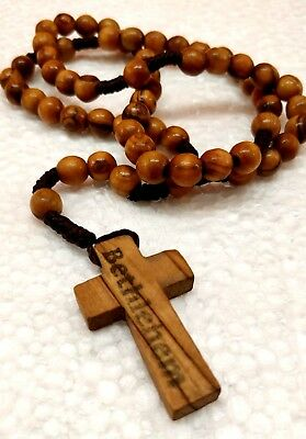 Hand Made Olive Wood Rosary Beads & Free Card Booklet (how to pray the Rosary)