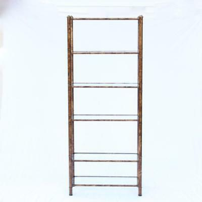 A Brass Acid Washed Etagere, Faux Bamboo, 6 Shelf 1970s Mastercraft Furniture?
