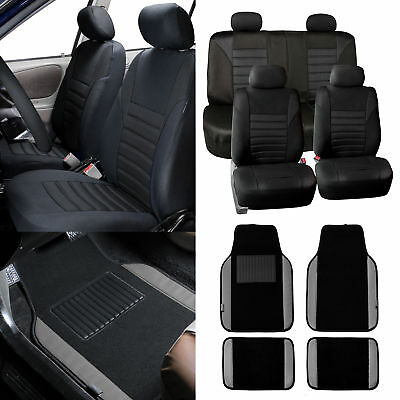 Seat Covers for Car Suv Van Black W/ Gray Leather Trim Floor Mats