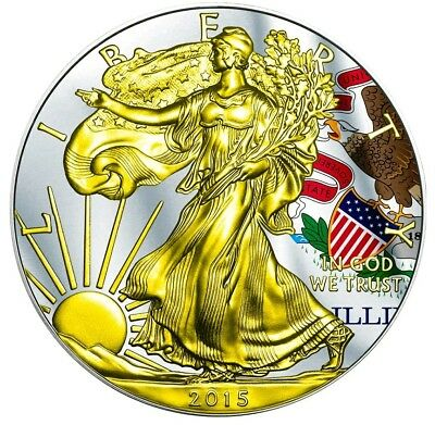 2015 1 Oz Silver AMERICAN EAGLE STATE FLAG ILLINOIS Coin WITH 24K Gold Gilded.