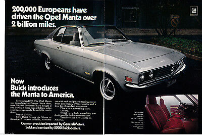 1972 Buick Opel Manta -Original 2 Page Magazine Ad- Imported from Europe - Autos