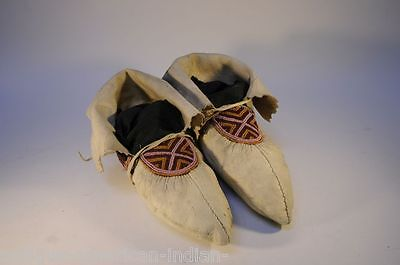 A pair of Hide and Beaded Tlingit Moccasins, late 19th century