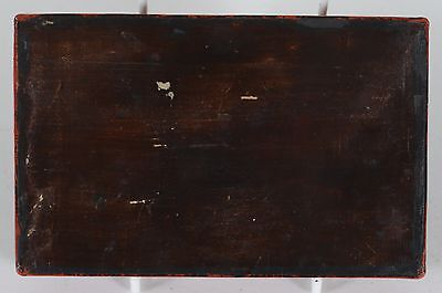 Antique Chinese Carved Cinnabar Lacquer Box Figures Garden Wan Background Design