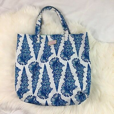 Lilly Pulitzer ESTEE LAUDER Seashell Tote Beach Shopping Bag Purse Blue White