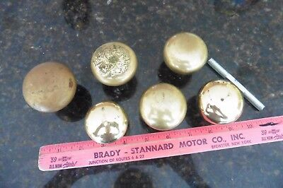 Lot of 6 Door knobs round Brass drawer pulls 6 handles Vintage Antique salvage