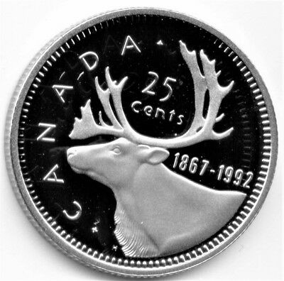 1992 Canadian/canada 25 Cent Coin Unc Frosted Proof
