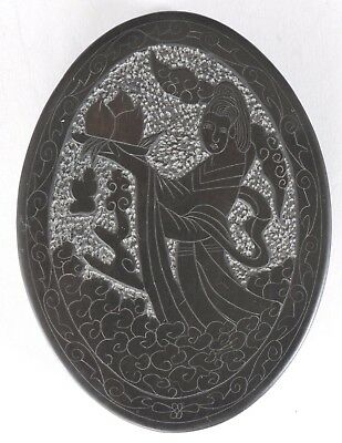 Chinese Ink Stone & Lid Kwanyin Holding Peach