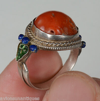 Chinese Silver & Cloisonne Enamel & Pink Coral Ring Signed