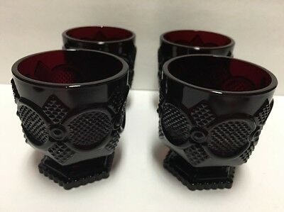 """4 Vintage Avon Cape Cod Collection Ruby Red Footed Glass Cups Goblets 3.75"""" Tall"""